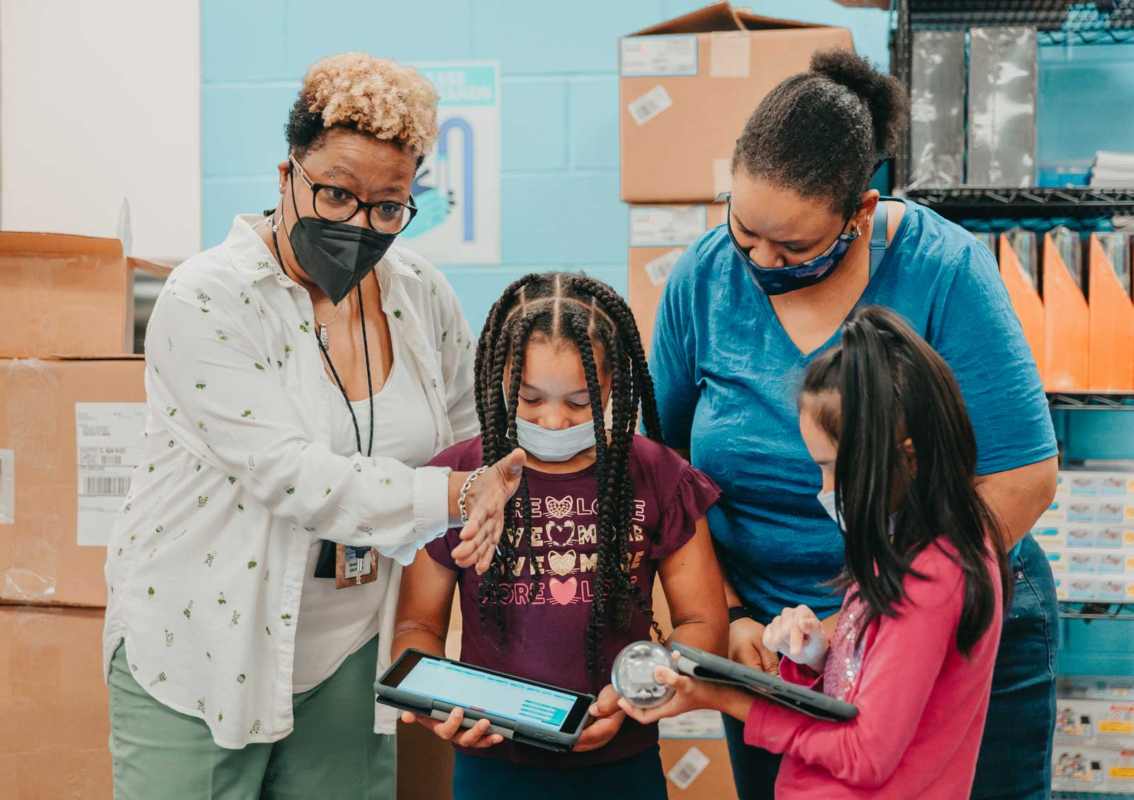 Claremont teacher working with students